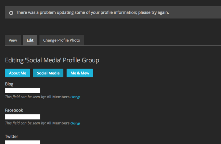 When I try to add Social Media information in my MewX profile, it doesn't save, giving me this