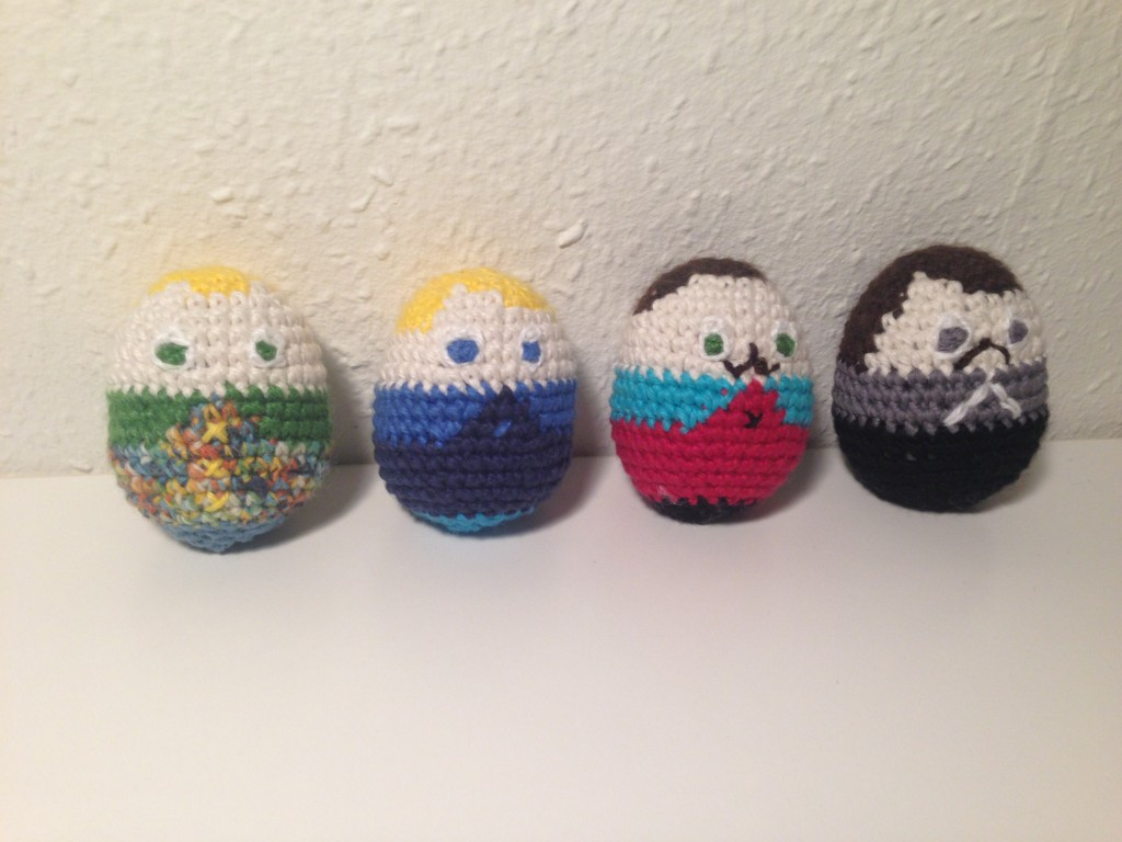 My Mewcraft project is finished! Crocheted Mew eggs. 2015-03-22 20.45.25