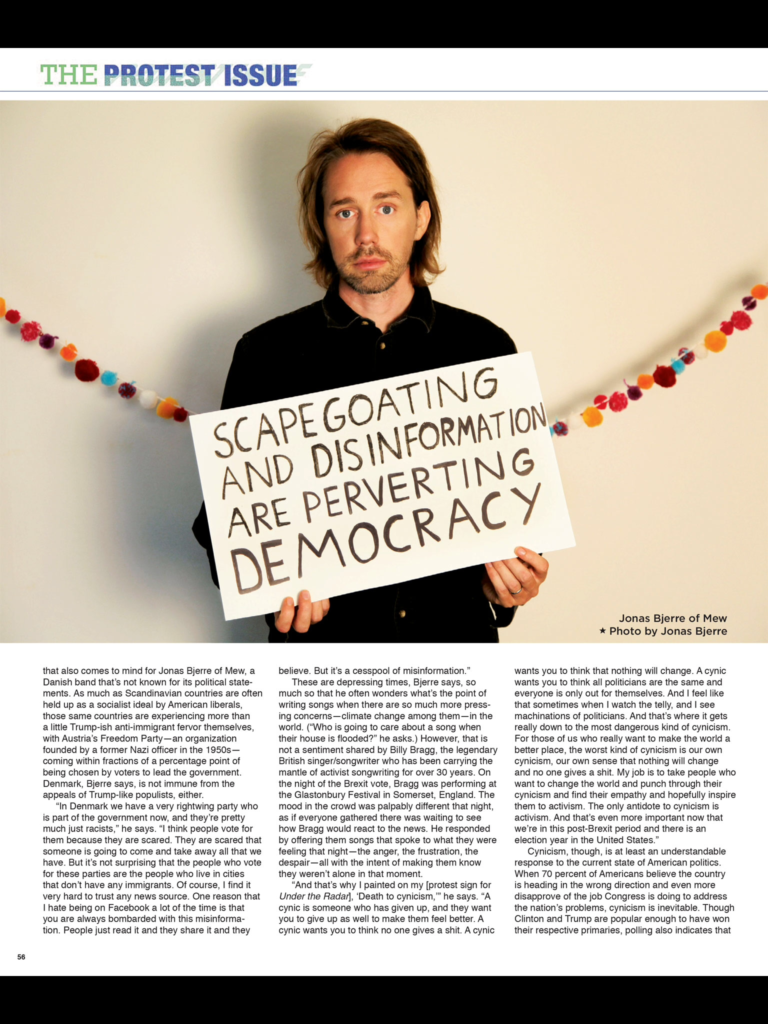 "Here is the section of the article from ""Under the Radar"" magazine's protest issue which featu"